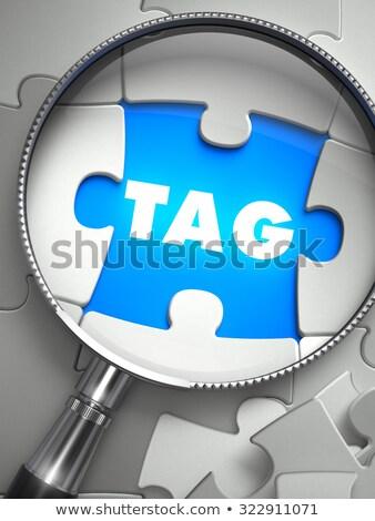 Stockfoto: Tag · vermist · puzzel · stuk · vergrootglas · woord
