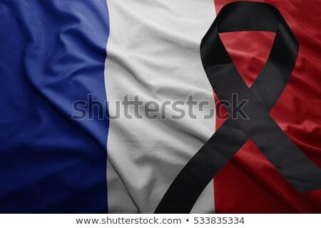 Francia zászló fekete gyász szalag izolált Stock fotó © orensila