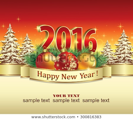 happy new year card 2016 gold snowflake vector illustration stock photo © rommeo79