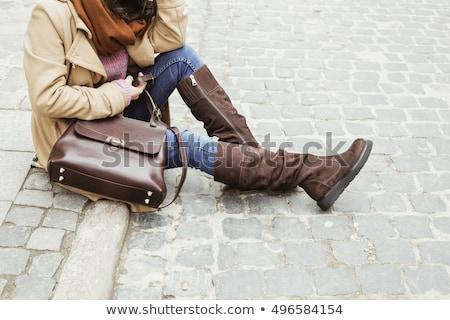 девушки коричневый шерсти куртка улице женщины Сток-фото © deyangeorgiev