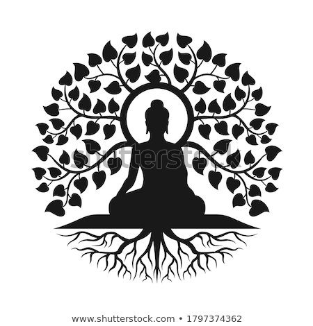 ikon · Buda · siluet · doğrusal · stil · sanat - stok fotoğraf © cienpies