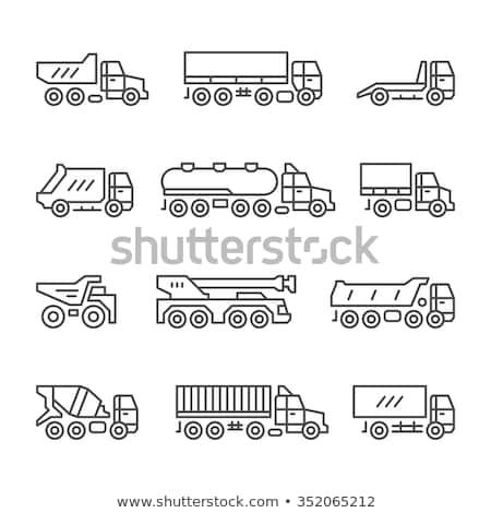 Beton keverő teherautó vonal ikon sarkok Stock fotó © RAStudio