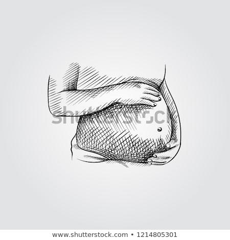 Terhes nő rajz ikon vektor izolált kézzel rajzolt Stock fotó © RAStudio