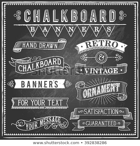 set of vintage chalkboard banners stock photo © genestro