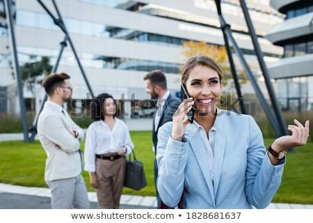 zakenlieden · praten · terras · gelukkig · vergadering · rond - stockfoto © nyul