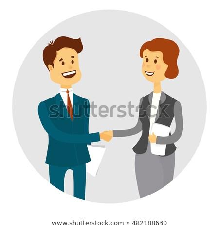 Pessoas de negócios aperto de mãos para cima ilustração desenho animado Foto stock © teirin_toys