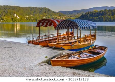 Barcos pier ilha Eslovenia tradicional Foto stock © CaptureLight