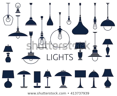 Set of chandelier icons in silhouette style, vector Stock photo © jiaking1