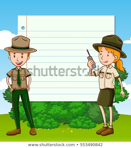 two park rangers and paper template stock photo © bluering
