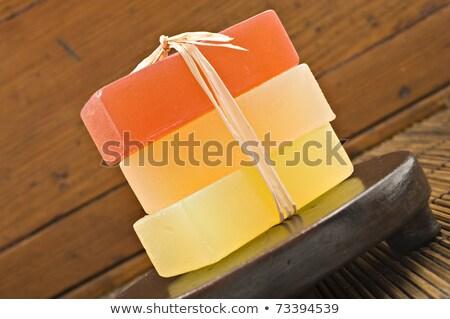 Three Bars Of Glyderin Soap In Spa Stok fotoğraf © Tish1