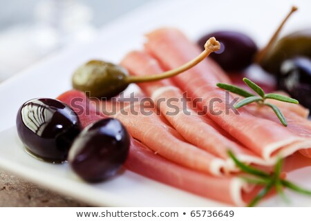 Serano Ham Olives and Caper Berries stock photo © monkey_business