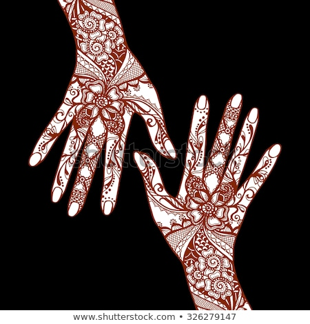 Hands with Henna Mehendi Patterns. Vector illustration Traditional Arts Stock photo © doddis