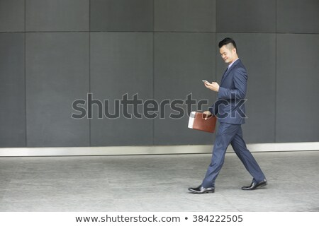Oldalnézet ázsiai üzletember sétál teljes alakos jóképű Stock fotó © szefei