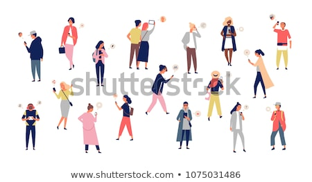 flat style set of happy man and woman taking selfie stock photo © curiosity
