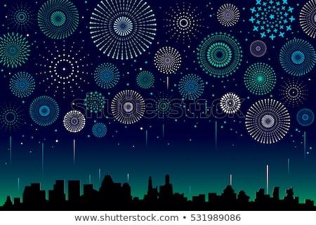 Ville scène feux d'artifice nuit illustration fête Photo stock © bluering