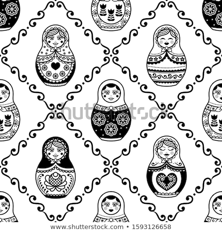 Russian Grandmother pattern. Old woman face in Russia ornament.  Stock photo © popaukropa