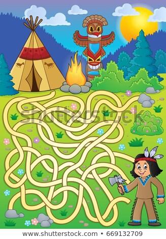 labirintus · nézőpont · kilátás · jó · metafora · illusztráció - stock fotó © clairev