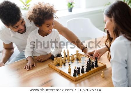 Foto stock: Xadrez · família · estratégia · gelo · em · pé