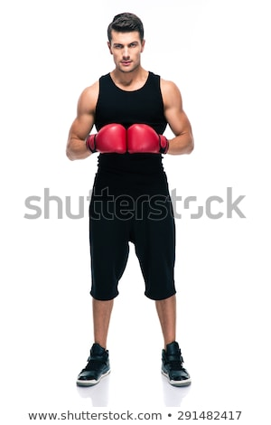 Man boxer wearing boxing gloves looking camera Stock photo © deandrobot