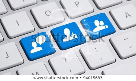 Blue Social Media Button on Keyboard. 3D. Stock photo © tashatuvango