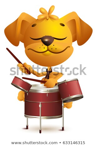 Yellow fun dog Drummer beats drums Stock photo © orensila