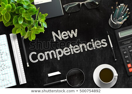 new competencies on black chalkboard 3d rendering stock photo © tashatuvango