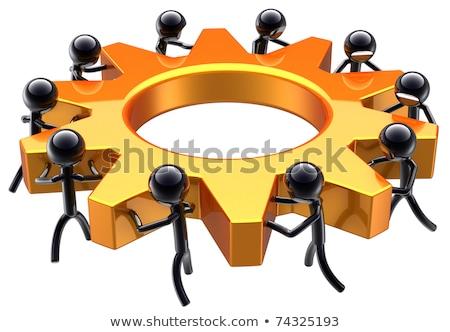 Foto stock: Processo · fabrico · dourado · engrenagens · mecanismo · metálico