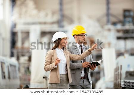 moço · trabalhando · armazém · computador · tecnologia · azul - foto stock © is2