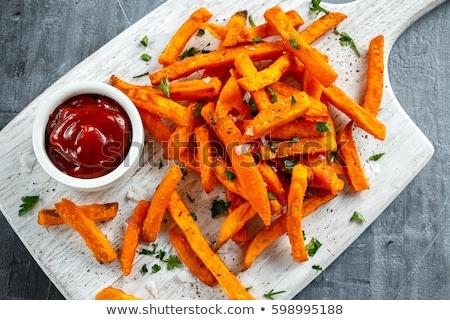 Patate douce frites françaises bois fond puce sel Photo stock © M-studio
