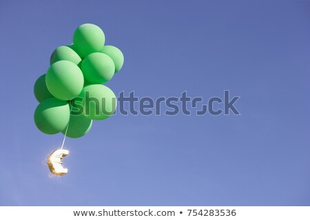 Euro flying with green helium balloons Stock photo © IS2