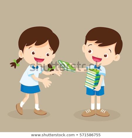 çocuklar kitap vermek örnek küçük kız küçük Stok fotoğraf © lenm