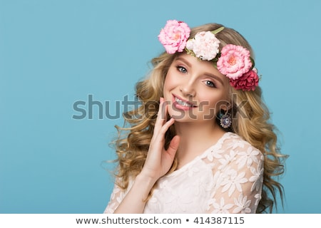 Beauty girl natural makeup with cute smile on pink Stock photo © DenisMArt