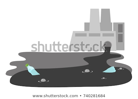 refinery plant with wastewater pipe vector cartoon stock photo © rastudio