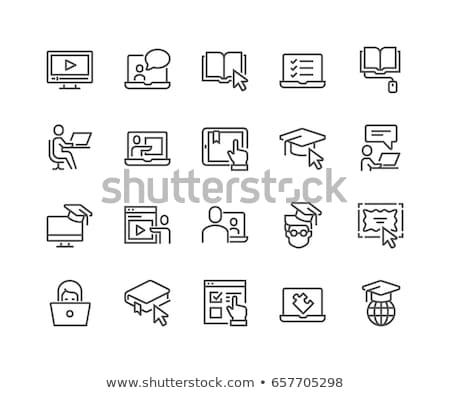 Dizüstü bilgisayar imleç hat ikon vektör yalıtılmış Stok fotoğraf © RAStudio