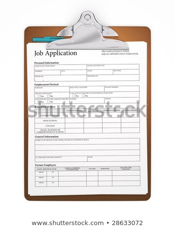 Isolated Clipboard with Job Application Form Stock photo © sidewaysdesign