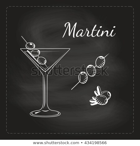 Stock fotó: Martini · olajbogyó · shaker · drámai · tiszta · lövés