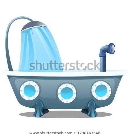 Tengeralattjáró fürdőkád hab fürdőszoba vektor víz Stock fotó © MaryValery