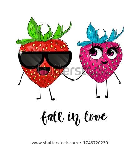 Fragola frutta mascotte carattere banner Foto d'archivio © hittoon