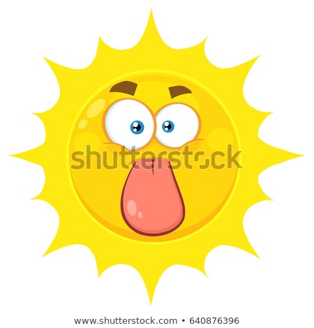 Funny Yellow Sun Cartoon Emoji Face Character Stuck Out Tongue Stock photo © hittoon