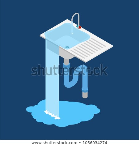 kitchen sink is clogged. Leakage canalization. Litter in pipe. I Stock photo © popaukropa