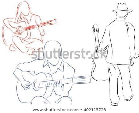 Silhouette guitariste musiciens détaillée jouer Photo stock © Krisdog