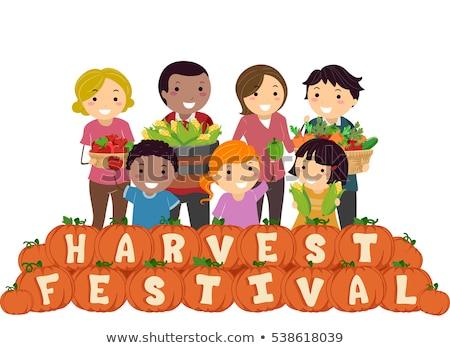 Harvest Festival Stickman Family Stock photo © lenm