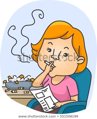 Kız zincir sigara tiryakisi küllük örnek kadın Stok fotoğraf © lenm