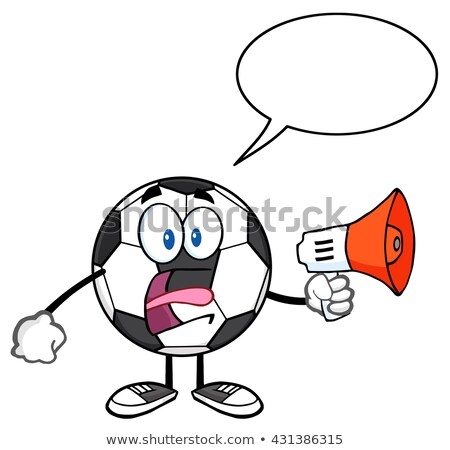 Voetbal cartoon mascotte karakter aankondiging megafoon tekstballon Stockfoto © hittoon