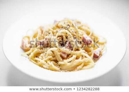 spaghetti pasta carbonara with bacon ham cream and kampot pepper Stock photo © travelphotography