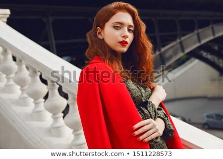 элегантный женщину зеленый шелковые платье глядя Сток-фото © feedough