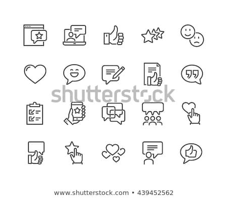 Stock fotó: Vásárló · vonal · ikon · ügyfél · elégedettség · szimbólum