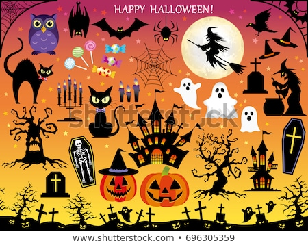Silhouette witch, pumpkin lantern, ghost, trees, cat, broom and  Stock photo © TasiPas