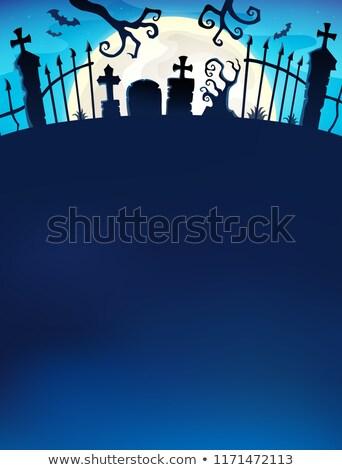 Cimetière porte silhouette lumière automne ailes Photo stock © clairev