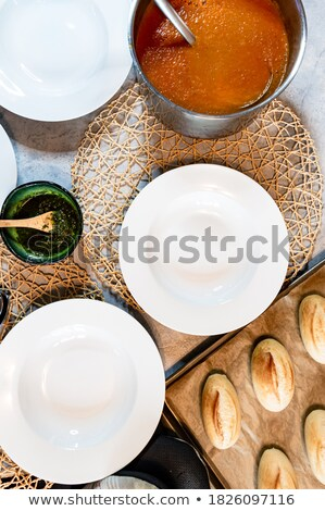 Tomato soup served with crisp bread Stock photo © dash